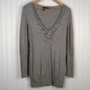 Eileen Fisher Cashmere Blend Grey Sequins Sweater